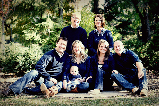 The family of Brenda Matsen. Top row: Jess and Brenda Matsen. Second row, left to right: Chad Curtis and Jennifer (Matsen) Curtis holding their son Spencer Curtis, Ashley (Matsen) O'Brion and C.J. O'Brion. Taken in 2013.